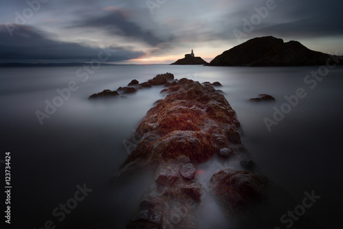 Poster Morning at Mumbles lighthouse, an iconic structure in Swansea Bay, Swansea