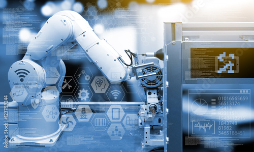 Industry 4.0 concept .Industry graphic sign and blue tone of automate wireless Robot arm in smart factory background. Double exposure , flare light