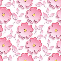 Seamless pattern with pink 3d sakura cutting paper