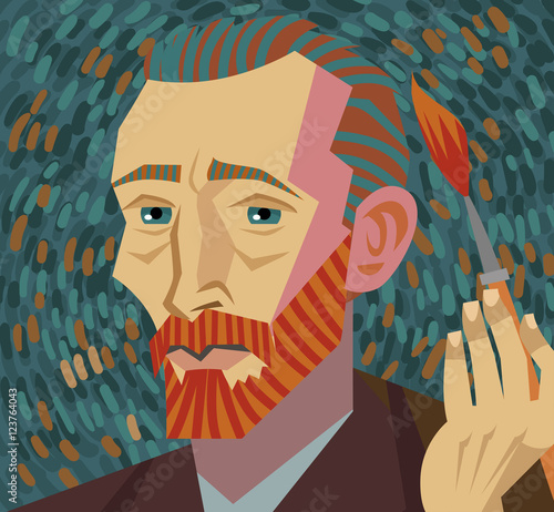 van gogh painter face drawing - 123764043