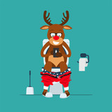 Santa's deer hipster Rudolf sits on  toilet bowl with phone in hands.Reindeer Rudolf in toilet. Toilet bowl, toilet paper and brush for toilet bowl. Greeting Christmas card 2017