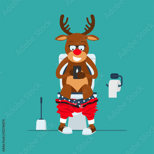 Fotobehang Hipster Hert Santa's deer hipster Rudolf sits on toilet bowl with phone in hands.Reindeer Rudolf in toilet. Toilet bowl, toilet paper and brush for toilet bowl. Greeting Christmas card 2017