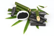Bamboo charcoal burned and bamboo fresh in the basket and Bamboo charcoal powder.