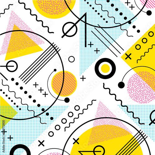 Fototapeta 1980s inspired memphis pattern background