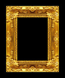 Antique picture gold frame isolated on black background, clippin