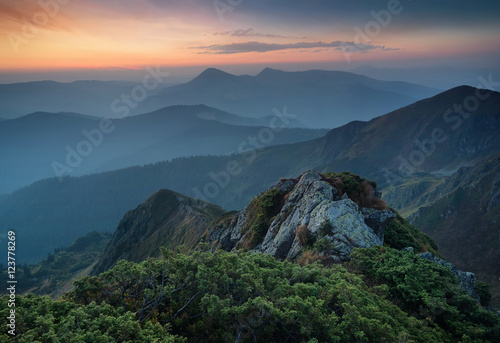 Billede Mountains during sunset
