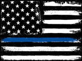 Thin Blue Line. Black Flag with Police Blue Line. - 123786080