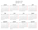 2017 year annual calendar (Monday first, English)