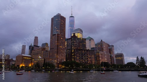 New York City Lower Manhattan Day To Night Pink Sunset Timelapse