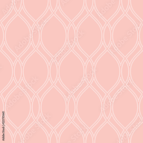 Seamless vector ornament. Modern geometric pink pattern with repeating white wavy lines - 123793661
