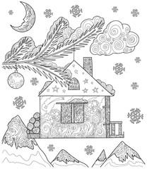 Hand drawn vector stock illustration of Christmas fir with decoration in form a house and balls in doodle style for anti stress adult coloring book.