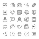 basic contact and communication line icons - 123795805