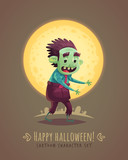 Walking zombie dead. Halloween cartoon character concept. Vector illustration.