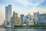 New York City skyline from New Jersey with World Trade Center featured as landmark of the Twin Towers. Lower Manhattan in NYC, United States. - 123800643