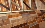 Sample parquet boards in hardware store