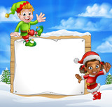 Christmas Elf Cartoon Characters Snow Sign