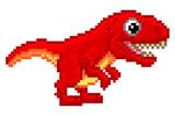 Fototapeta Dinusie - Pixel Art T Rex Cartoon Dinosaur © Christos Georghiou