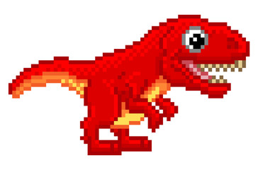 Pixel Art T Rex Cartoon Dinosaur