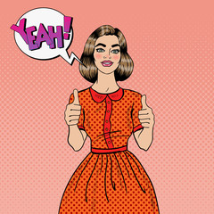 Pop Art Young Beautiful Woman Gesturing Great. Smiling Woman Showing Thumbs Up. Vector illustration