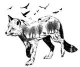 Vector Double exposure, silhouette of fox - 123817451