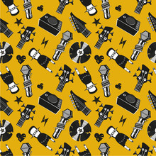 Seamless pattern with music elements. Rock and roll background