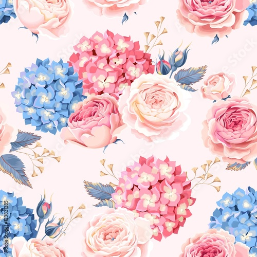 Cotton fabric Seamless rose and hydrangea