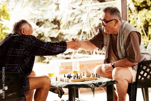 Plakát, Obraz Senior friends playing chess