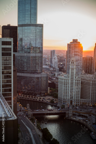 Downtown Chicago buildings seen from above roof