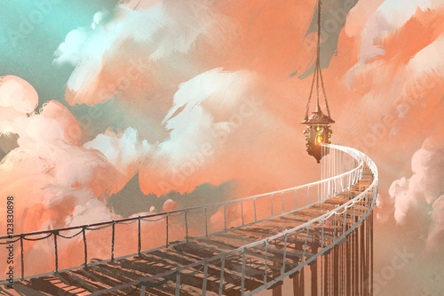 Papiers peints Corail rope bridge leading to the hanging lantern in a clouds,illustration painting