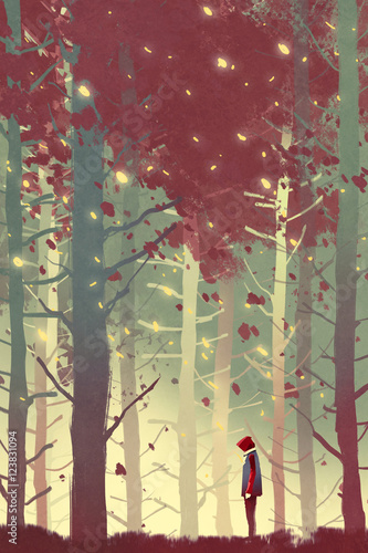 Plakat man standing in beautiful forest with falling leaves,illustration painting