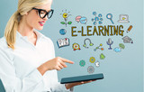 E-Learning text with business woman