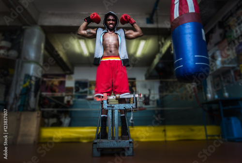 Poster Boxer weighing