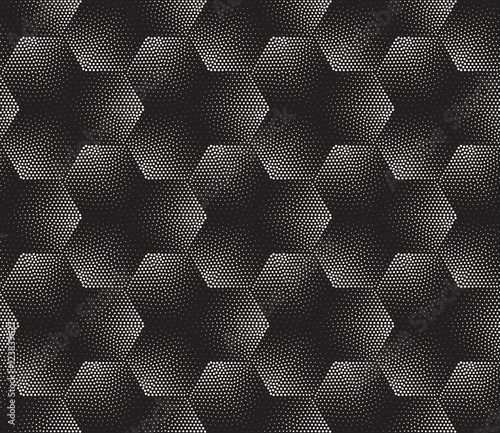 Vector Seamless Black and White Stippling Halftone Gradient Pattern - 123839627