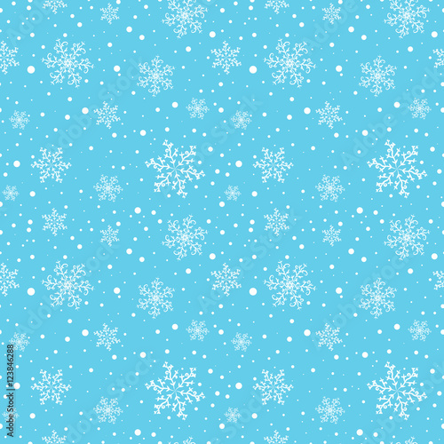 Materiał do szycia Seamless winter pattern with white snowflakes on light blue background. Vector illustration.