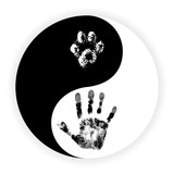 Yin Yang symbol with paw and hand vector - 123850037
