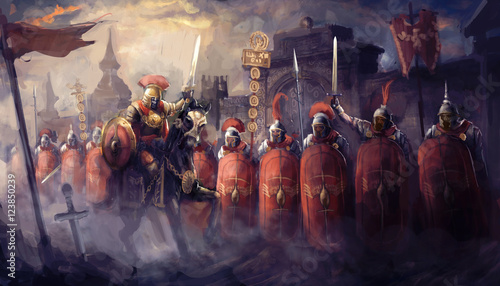 Roman soldiers and their general  © vukkostic