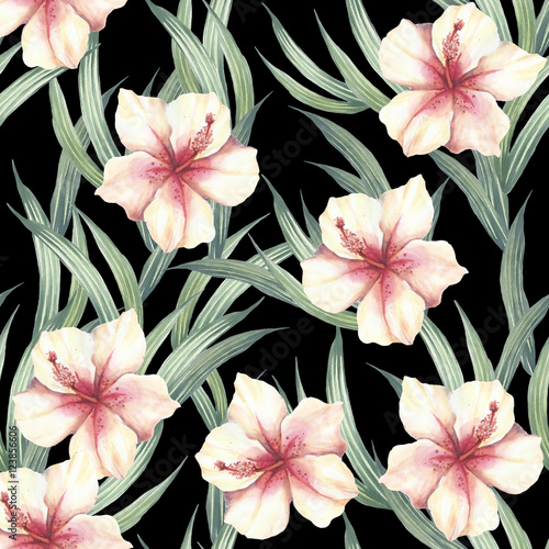 Fototapeta Seamless pattern with tropical flowers and leaves. Watercolor illustration.
