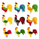 Set of rooster symbol of 2017 Chinese New Year calendar isolated on white background. Cartoon characters of cock or rooster. Vector illustration.