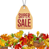 Autumn seasonal sale badge, vector illustration. Limited super sale, exclusive offer label in vintage style on white background with colorful autumn leaves. Promotional discount template