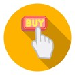 Buying click icon in flat style isolated on white background. E-commerce symbol stock vector illustration.