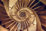 Spiral staircase in tower - interior architecture of building - 123863430