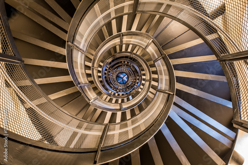 Spiral staircase in tower - interior architecture of building - 123863460