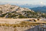 hay bales on walking track in Hoher Dachstein Alps, Austria
