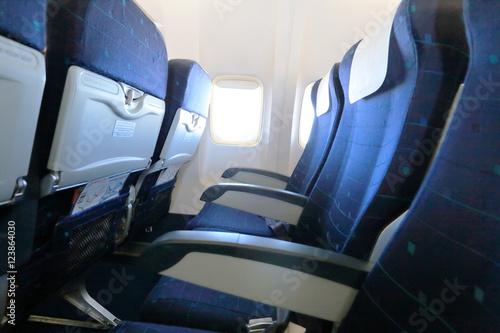 Blue empty airplane seats