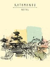 Durbar Square. temples hindous en Basantapur, Katmandou, au Népal, avant tremblement de terre. croquis de Voyage. Dessin à main levée. carte postale touristique vintage, affiche, illustration de livre dans le vecteur