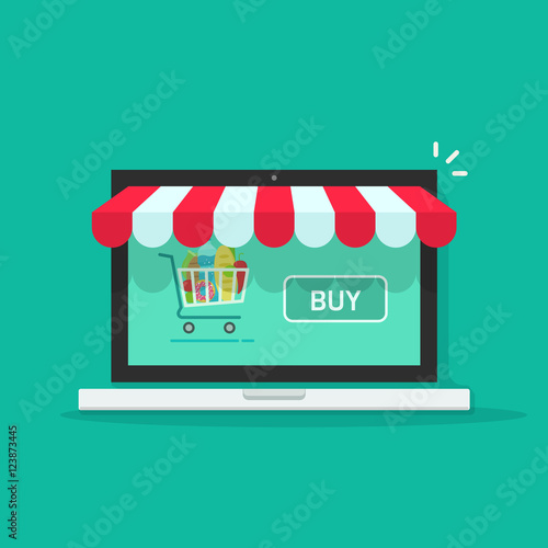 Concept of online shop, e-commerce store, internet shop vector illustration isolated on green color background, laptop as ecommerce online store with shopping cart and buy button