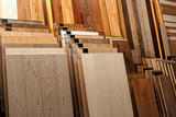 Sample parquet boards in hardware store - 123874691