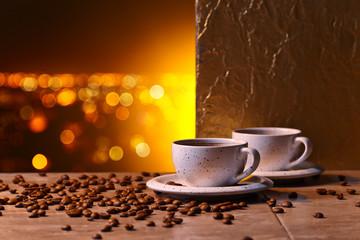 Fototapeta w ciepłej tonacji z motywem kawy