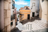 Alfama street in Lisbon, cool and old district in the city - 123879222