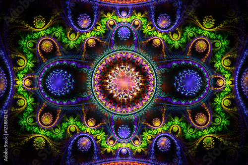 Abstract fantasy 3d ornament on black background. Creative fract - 123884242